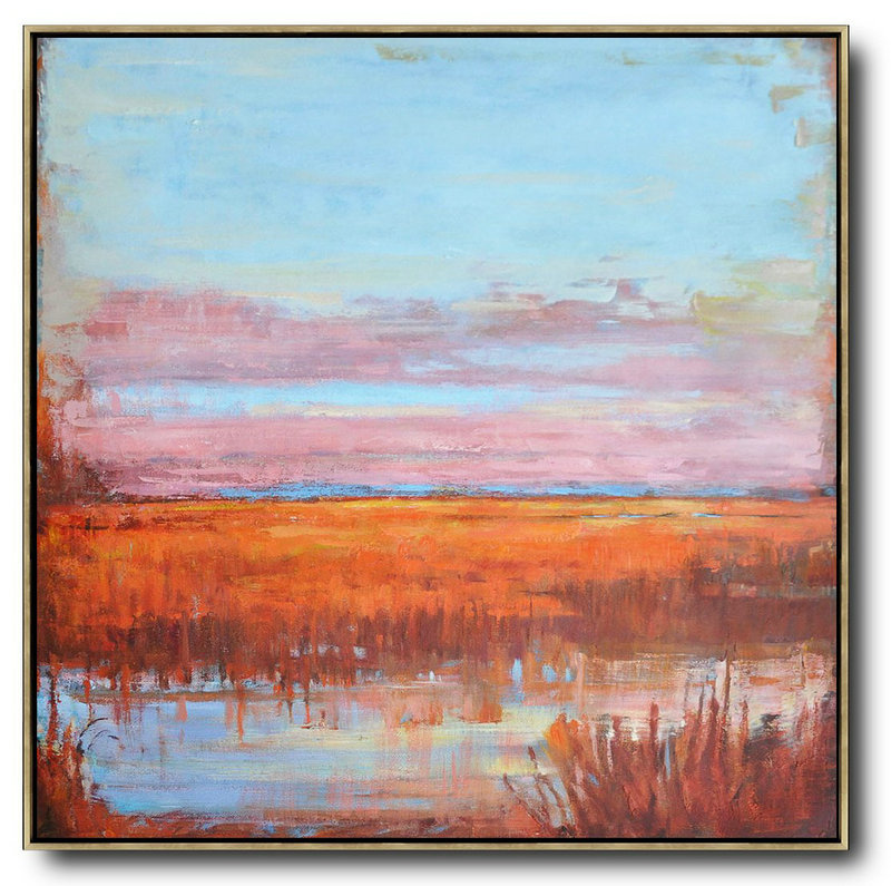 Large Abstract Painting,Abstract Landscape Oil Painting,Custom Canvas Wall Art,Blue,Pink,Orange,Red
