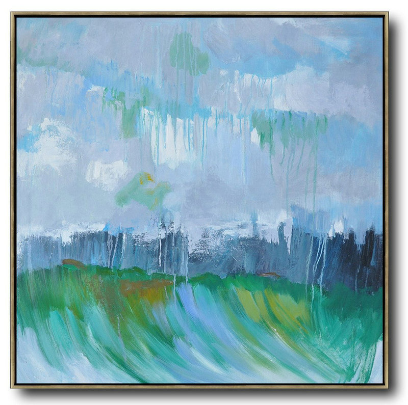 Handmade Large Contemporary Art,Abstract Landscape Oil Painting,Acrylic Painting On Canvas,Purple Grey,Dark Blue,White,Green