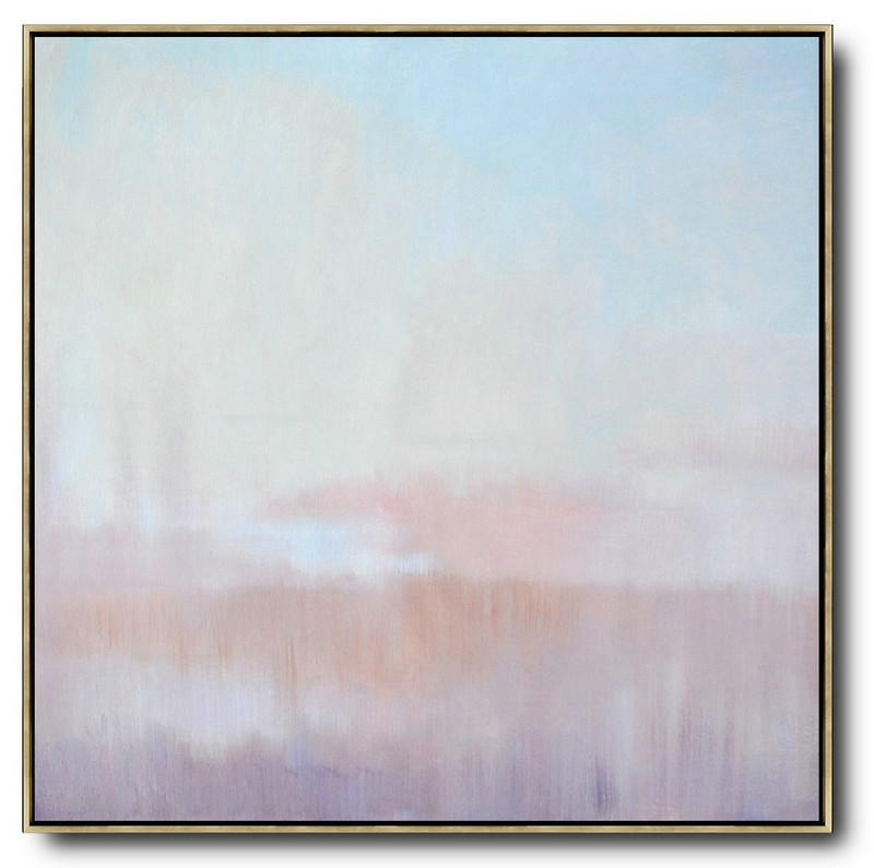 Extra Large Acrylic Painting On Canvas,Abstract Landscape Oil Painting,Original Art Acrylic Painting,Sky Blue,Pink,Light Yellow