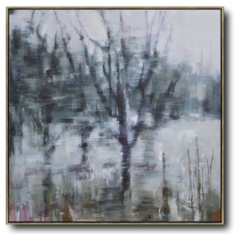 Large Contemporary Art Acrylic Painting,Abstract Landscape Oil Painting,Acrylic Painting On Canvas,White,Dark Green,Grey,Purple