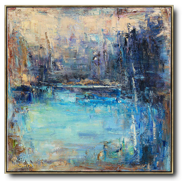 Large Abstract Art,Abstract Landscape Oil Painting,Large Oil Canvas Art,Yellow.Blue,Purple