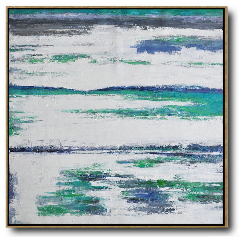 Large Modern Abstract Painting,Large Abstract Landscape Oil Painting On Canvas,Original Modern Art,Large Wall Art Handmade,White,Grey,Blue,,Green