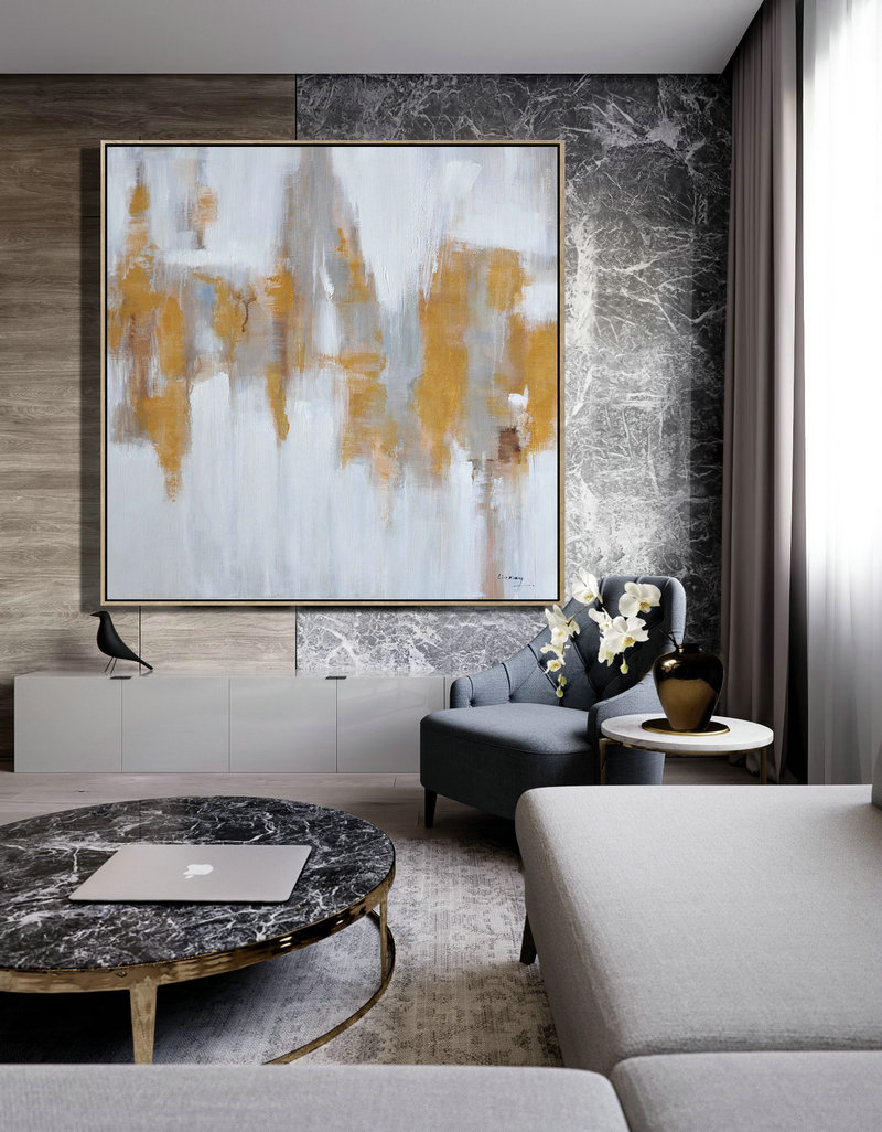 Extra Large Textured Painting On Canvas,Large Abstract Landscape Oil Painting On Canvas,Acrylic Painting Large Wall Art,White,Grey,Yellow