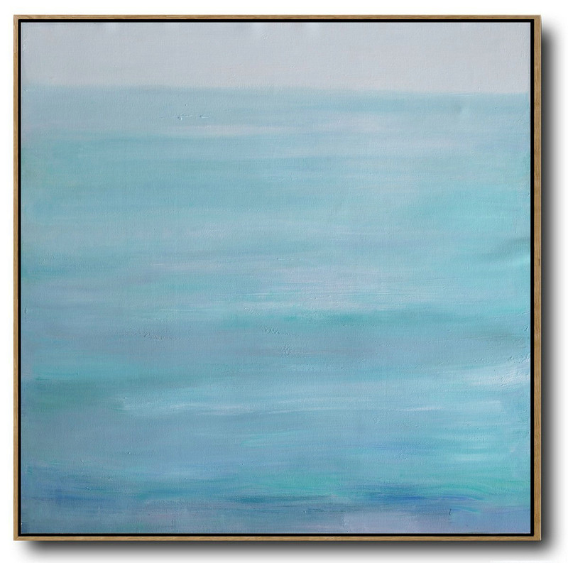 Handmade Painting Large Abstract Art,Large Abstract Landscape Oil Painting On Canvas,Modern Art Abstract Painting,Grey,Lake Blue,White