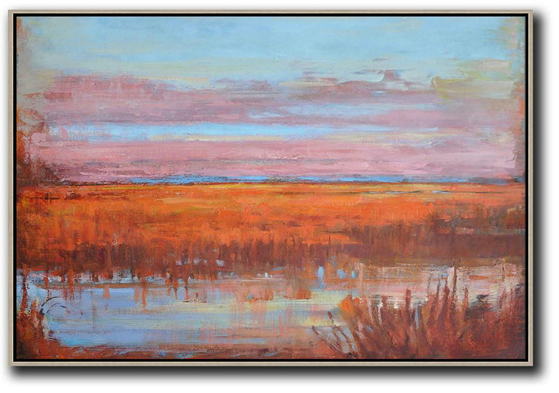 Extra Large Acrylic Painting On Canvas,Horizontal Abstract Landscape Oil Painting On Canvas,Size Extra Large Abstract Art,Sky Blue,Pink,Orange,Red