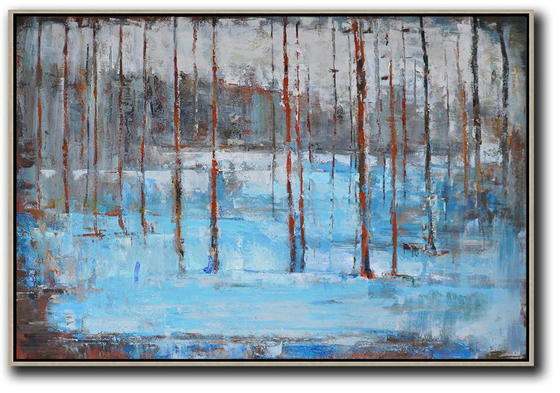 Large Abstract Painting Canvas Art,Horizontal Abstract Landscape Oil Painting On Canvas,Abstract Art On Canvas, Modern Art,Blue,Grey,Red,White,Brown
