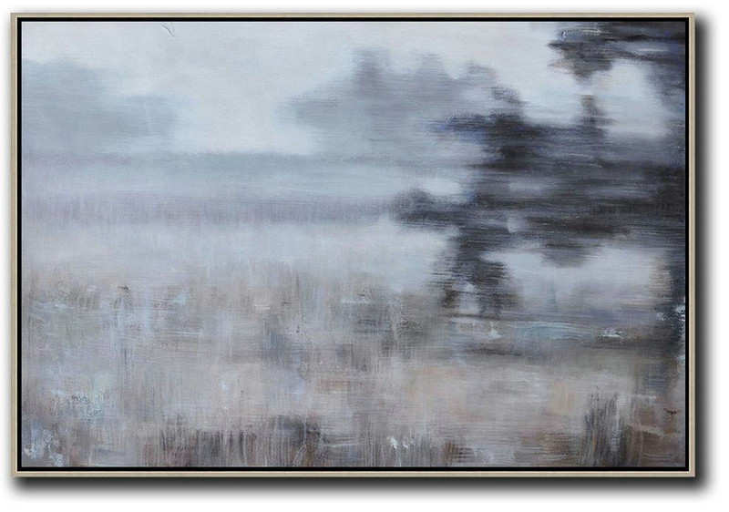 Large Contemporary Art Acrylic Painting,Horizontal Abstract Landscape Oil Painting On Canvas,Unique Canvas Art,White,Grey,Brown,Black