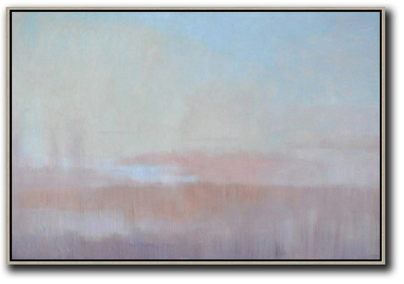 Large Abstract Art,Horizontal Abstract Landscape Oil Painting On Canvas,Living Room Canvas Art,Sky Blue,Light Yellow,Pink