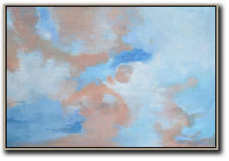 Handmade Large Contemporary Art,Horizontal Abstract Landscape Oil Painting On Canvas,Abstract Painting On Canvas,Blue,Pink,White