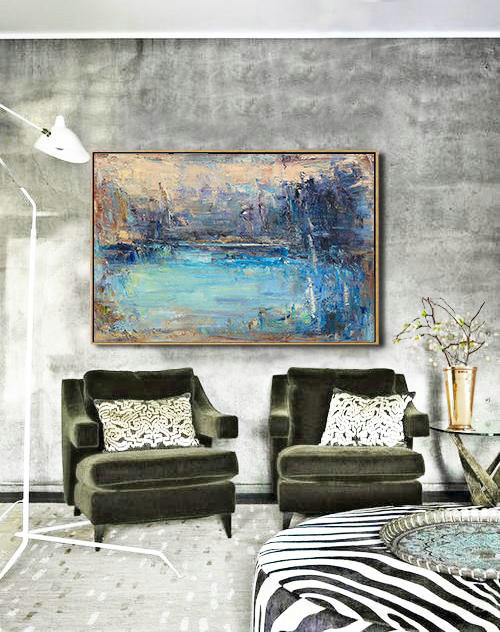 Handmade Extra Large Contemporary Painting,Horizontal Abstract Landscape Oil Painting On Canvas,Huge Abstract Canvas Art,Yellow.Blue,Purple