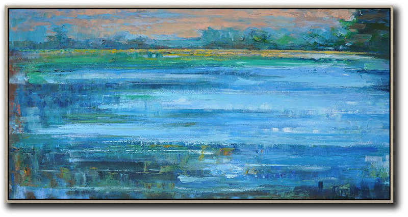 Extra Large Canvas Art,Panoramic Abstract Landscape Painting,Large Living Room Wall Decor,Blue,Earthy Yellow ,Green
