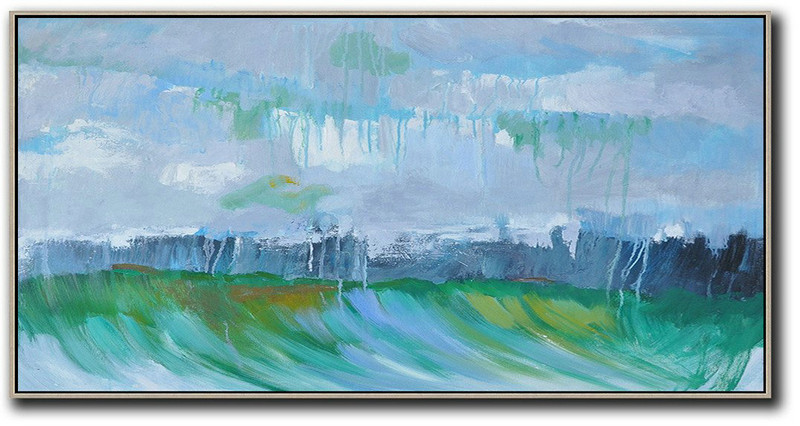 Original Artwork Extra Large Abstract Painting,Panoramic Abstract Landscape Painting,Large Living Room Decor,Grey,Dark Blue,Green
