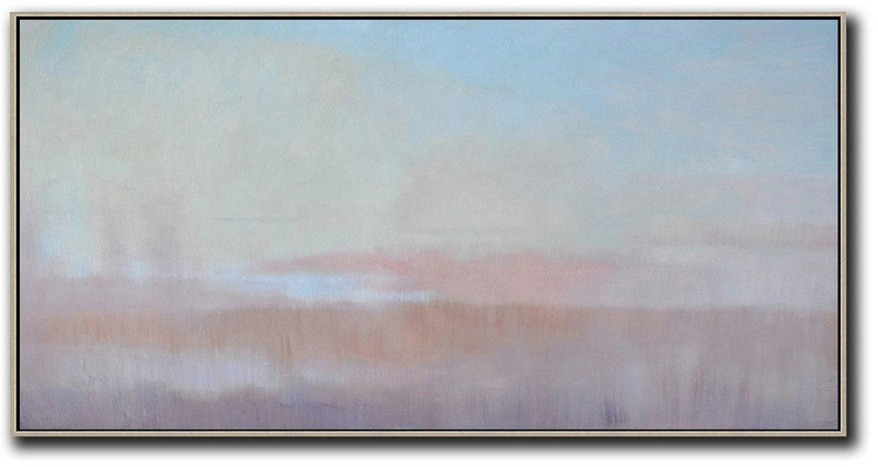Extra Large Acrylic Painting On Canvas,Panoramic Abstract Landscape Painting,Contemporary Art Wall Decor,Sky Blue,Light Yellow,Pink
