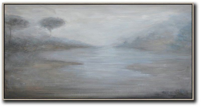 Large Abstract Painting,Panoramic Abstract Landscape Painting,Xl Large Canvas Art,Grey,White,Black