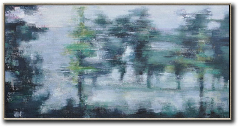 "Extra Large 72"" Acrylic Painting,Panoramic Abstract Landscape Painting,Extra Large Wall Art,White,Purple Grey,Dark Green"