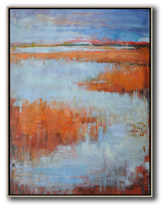 Extra Large Abstract Painting On Canvas,Abstract Landscape Painting,Large Canvas Art,Blue,Orange,Purple Grey,Red