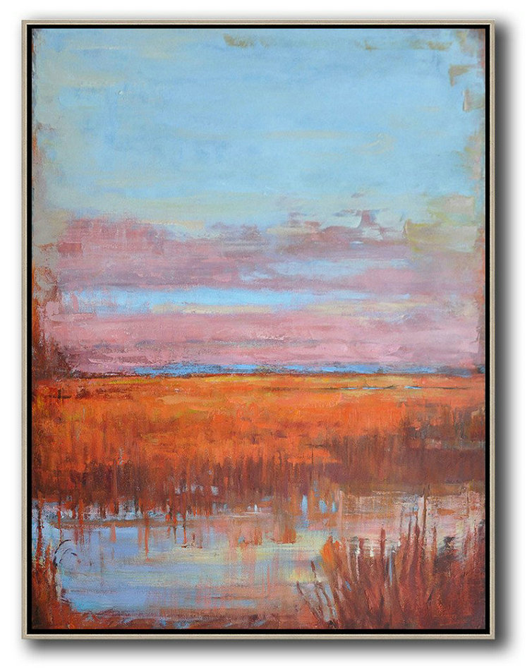 "Extra Large 72"" Acrylic Painting,Abstract Landscape Painting,Hand Painted Acrylic Painting,Sky Blue,Pink,Orange,Red"