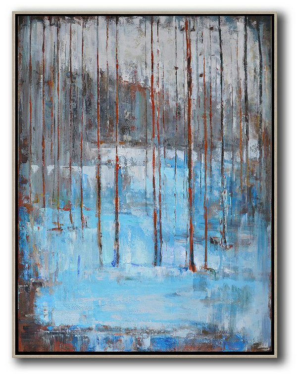 Hand Made Abstract Art,Abstract Landscape Painting,Handmade Acrylic Painting,White,Grey,Red,Blue