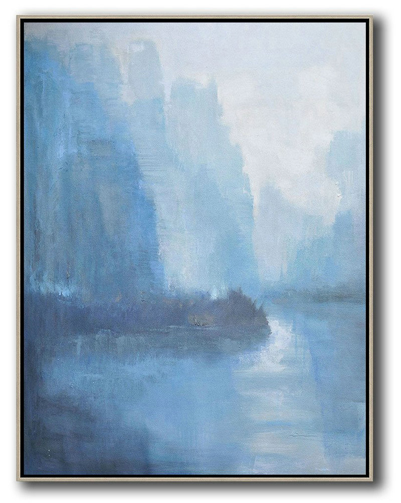 Original Artwork Extra Large Abstract Painting,Abstract Landscape Painting,Hand Paint Large Art,White,Blue,Grey