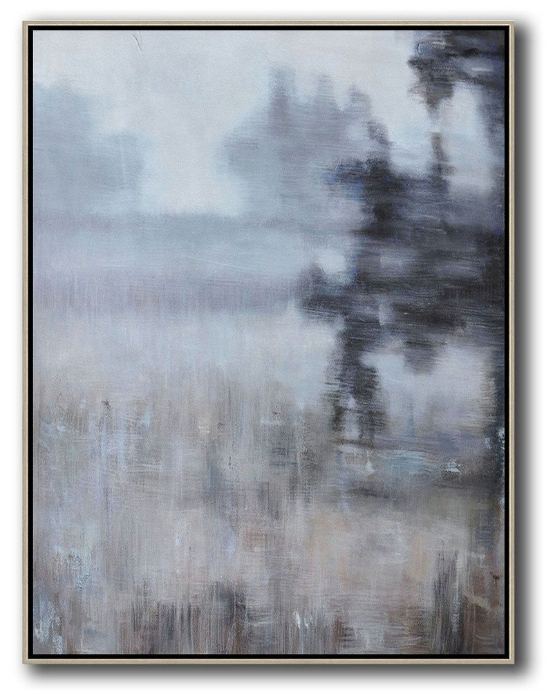 Extra Large Acrylic Painting On Canvas,Abstract Landscape Painting,Original Art,White,Grey,Brown,Black