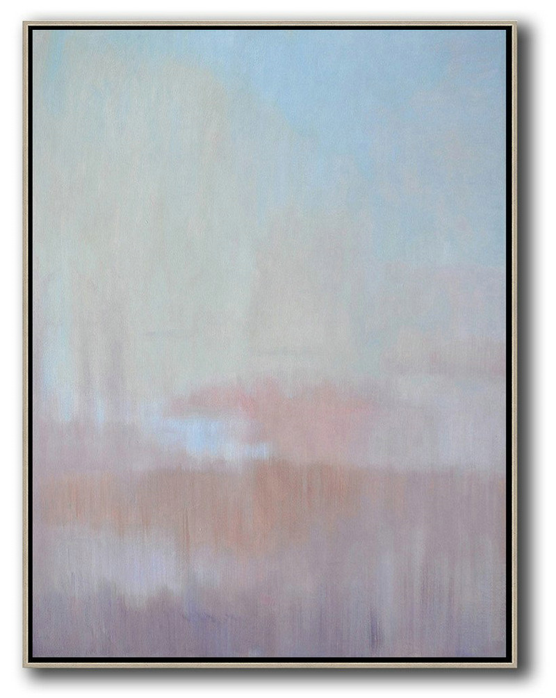 Extra Large Textured Painting On Canvas,Abstract Landscape Painting,Oversized Canvas Art,Sky Blue,Light Yellow,Pink