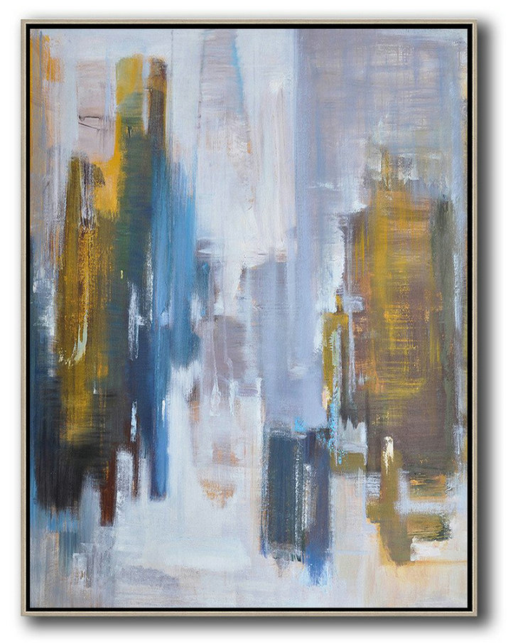 Large Abstract Art Handmade Oil Painting,Abstract Landscape Painting,Original Art Acrylic Painting,White,Purple Grey,Yellow,Blue