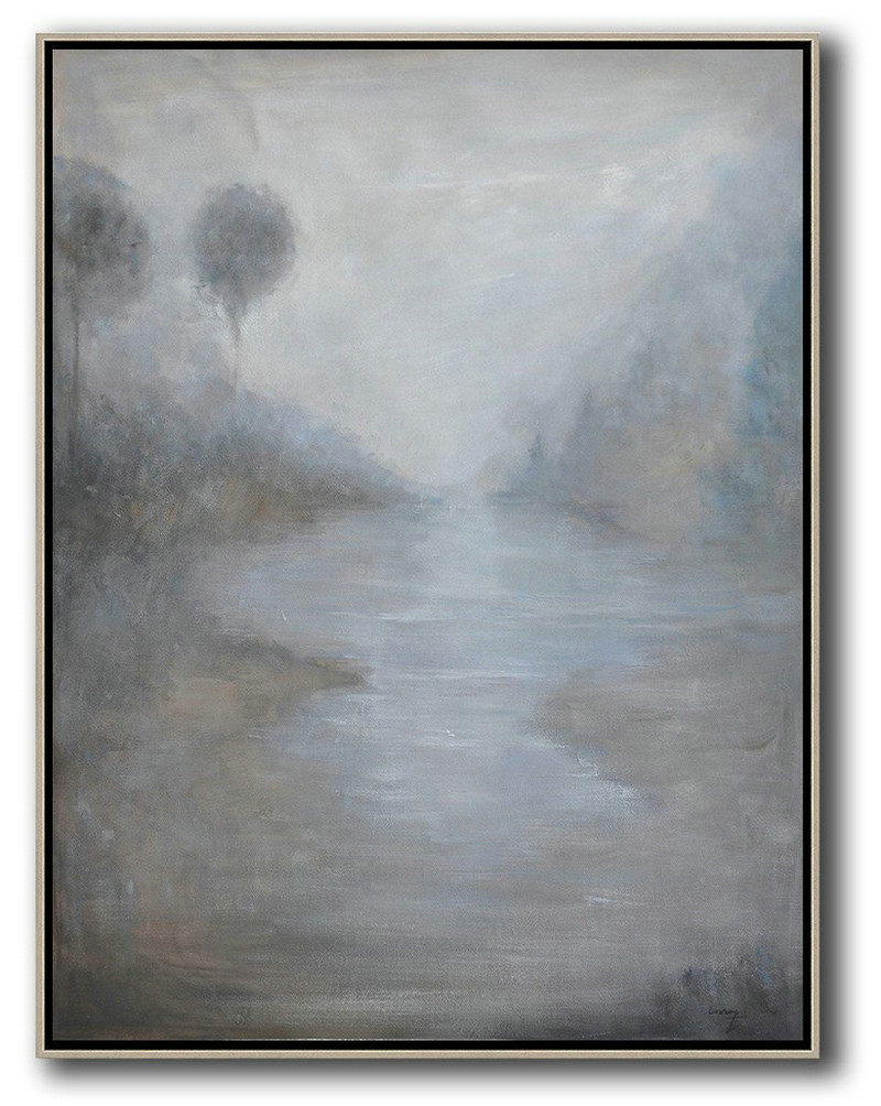 Abstract Painting Extra Large Canvas Art,Abstract Landscape Painting,Original Abstract Painting Canvas Art,White,Grey,Black
