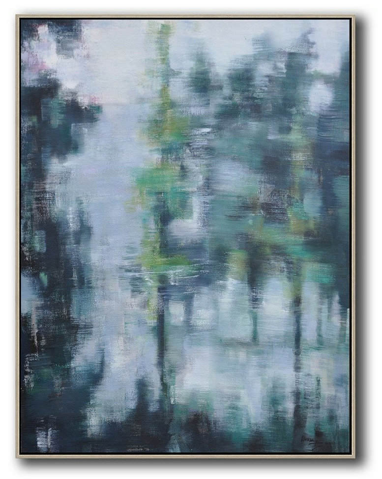Extra Large Painting,Abstract Landscape Painting,Art Work,White,Purple Grey,Black