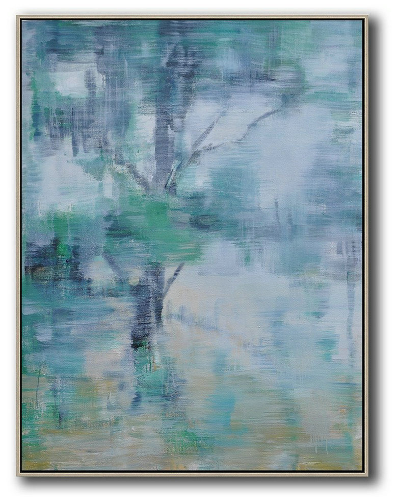 Abstract Painting Extra Large Canvas Art,Abstract Landscape Painting,Modern Art,Green,White,Black,Yellow